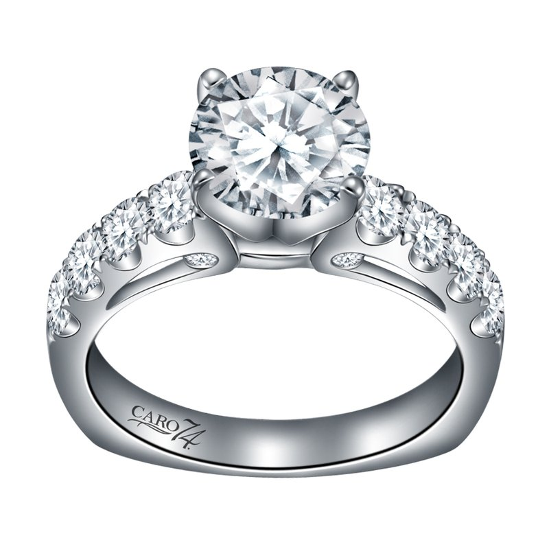 Caro74 Diamond Engagement Ring With Side Stones in 14K White Gold and Platinum Head (1-1/2ct. tw.)