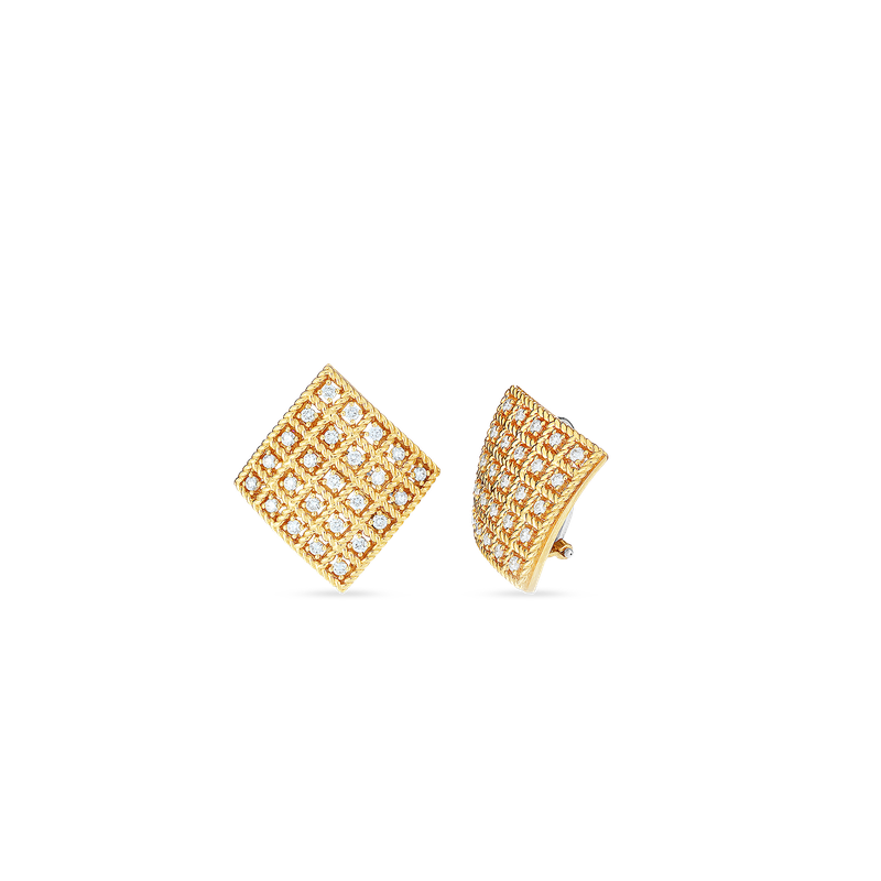 Roberto Coin  #27671 Of 18Kt Gold Square Earrings With Diamonds