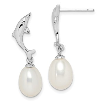 Sterling Silver Rhod-plat 7-8mm White Rice FWC Pearl Dolphin Earrings