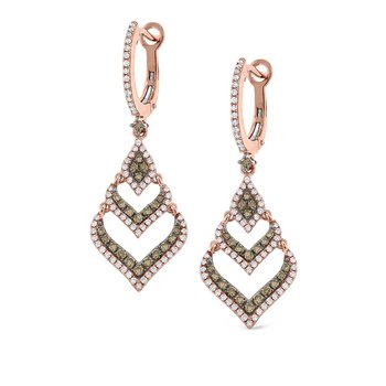 Champagne and White Diamond Fashion Earrings in 14K Rose Gold with 192 Diamonds Weighing  .98ct tw