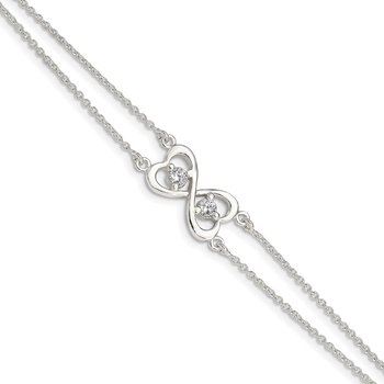 Sterling Silver Polished CZ Heart Two-strand Bracelet