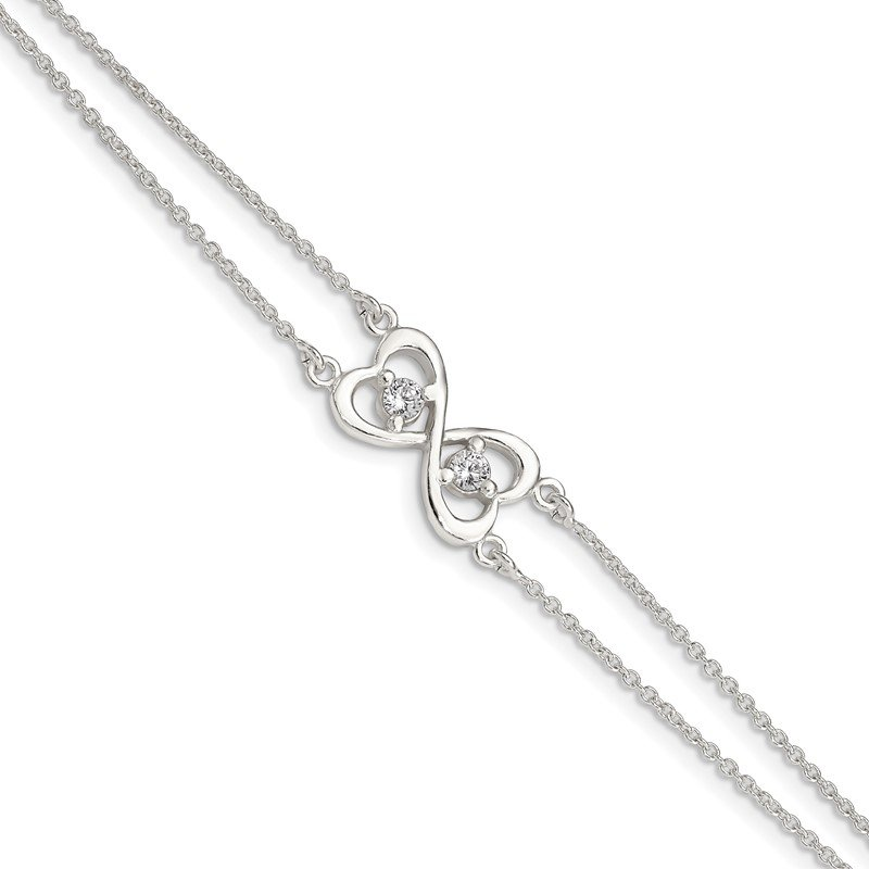 Quality Gold Sterling Silver Polished CZ Heart Two-strand Bracelet