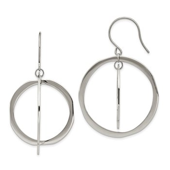 Stainless Steel Polished Circles Dangle Shepherd Hook Earring