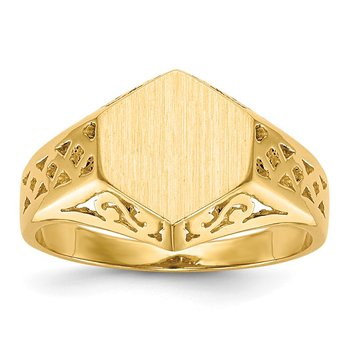 14k 9.5x8.5mm Open Back Signet Ring