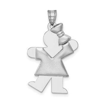 14k White Gold Puffed Girl w/Bow on Right Engravable Charm