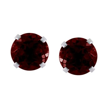 14k White Gold 6mm Round Garnet Stud Earrings (1.70 ct)