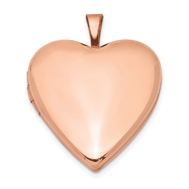 Quality Gold Sterling Silver Rose Gold-plated 20mm Polished Front/Satin Back Heart Locke