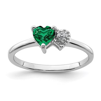 Sterling Silver Polished Created Emerald and Diamond Ring