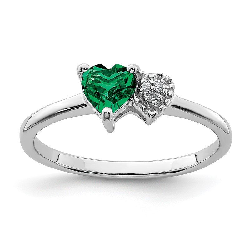 Quality Gold Sterling Silver Polished Created Emerald and Diamond Ring