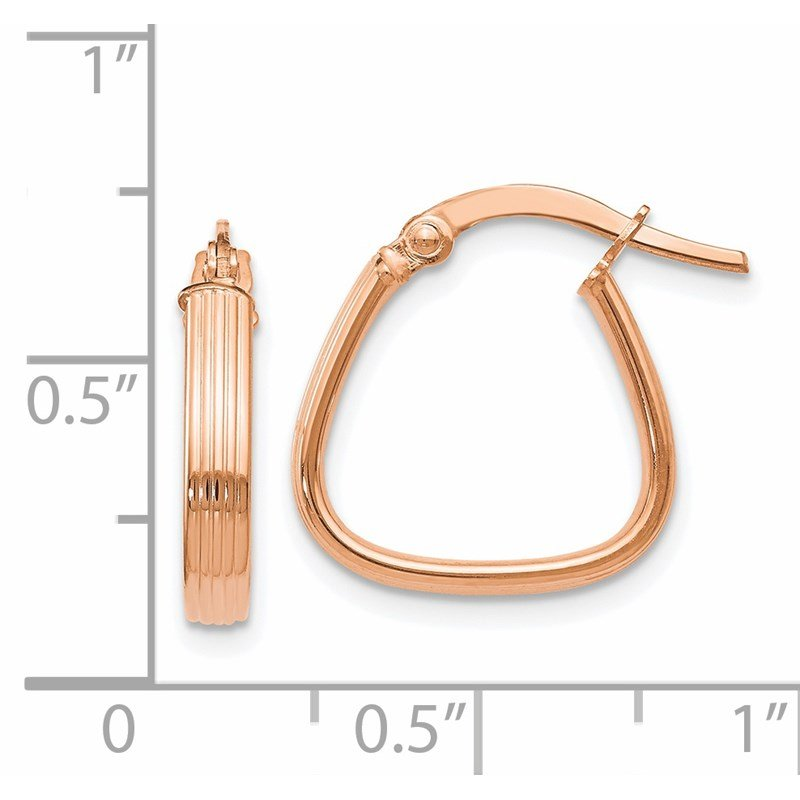 Leslie's Leslie's 14K Rose Gold Polished and Textured Hoop Earrings