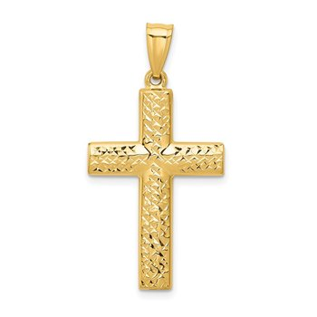 14K Reversible Textured/Polished Cross Pendant