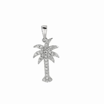 Silver Mini CZ Palm Tree Pendant