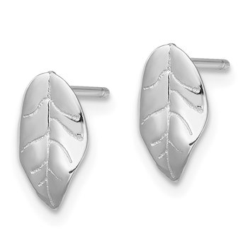Sterling Silver Rhodium-plated Leaf Post Earrings