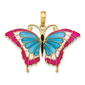 14K Blue and Red Enameled Butterfly Pendant