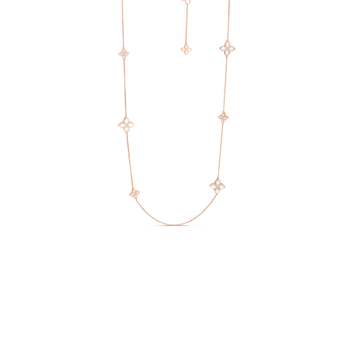 18Kt Alternating Med & Sm Mother-Of-Pearl & Dia Necklace