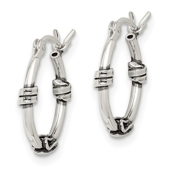 Sterling Silver Antiqued Fancy Hoop Earrings