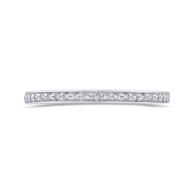 Carizza 14K White Gold Round Cut Diamond Half-Eternity Wedding Band