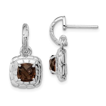 Sterling Silver Rhodium-plated Smoky Quartz Earrings