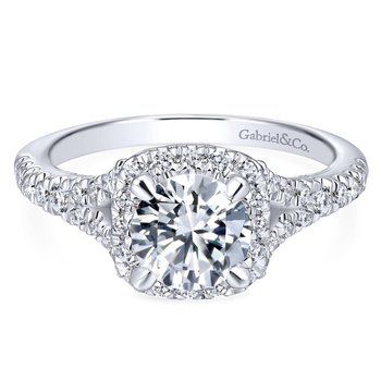 Halo and Split Shank Engagement Ring