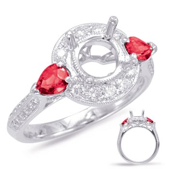 White Gold Ruby & Diamond Halo Ring