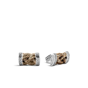 Braided Chain Cufflinks in Silver and Blackened Bronze