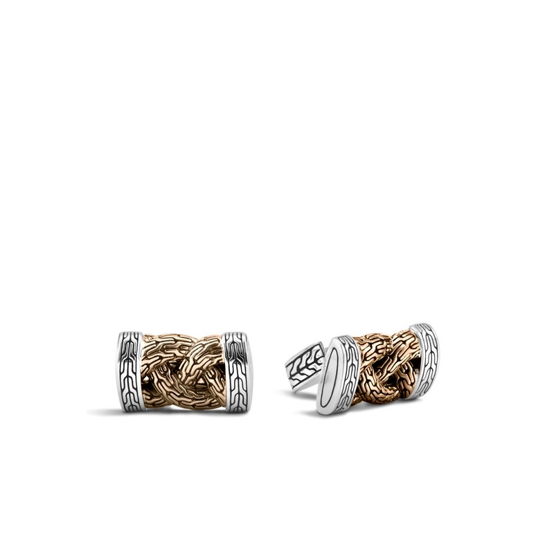 JOHN HARDY Braided Chain Cufflinks in Silver and Blackened Bronze