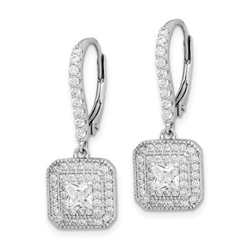 Sterling Silver Rhodium-plated CZ Leverback Dangle Earrings