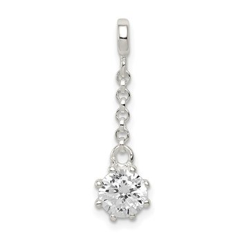Sterling Silver Clear CZ 1/2in Dangle Enhancer