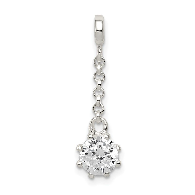 Quality Gold Sterling Silver Clear CZ 1/2in Dangle Enhancer
