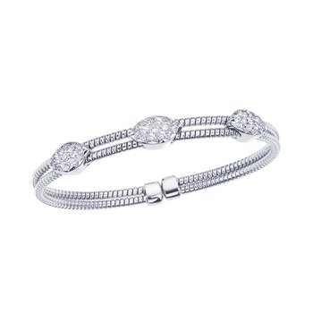 White Gold 2 Row Twisted Bangle with Diamond Stations