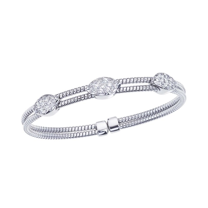 DA Gold White Gold 2 Row Twisted Bangle with Diamond Stations
