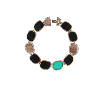 18KT GOLD BRACELET WITH BLACK JADE, GREEN AGATE AND DIAMONDS