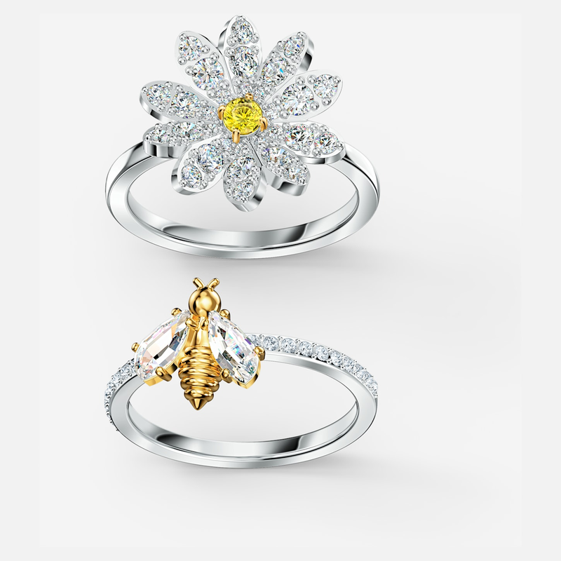 Swarovski Eternal Flower Ring Set, Yellow, Mixed metal finish