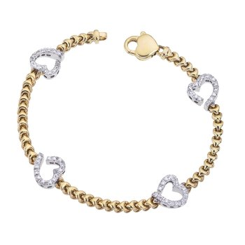 Two-Tone Braided Bracelet with Diamond Hearts
