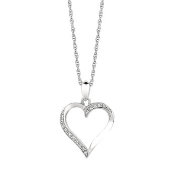 Silver Diamond .05ct Heart Necklace
