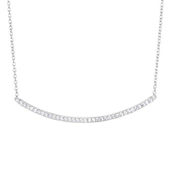 Silver CZ Curved Bar Necklace