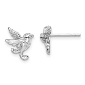 Sterling Silver Rhodium Plated Bird Post Earrings
