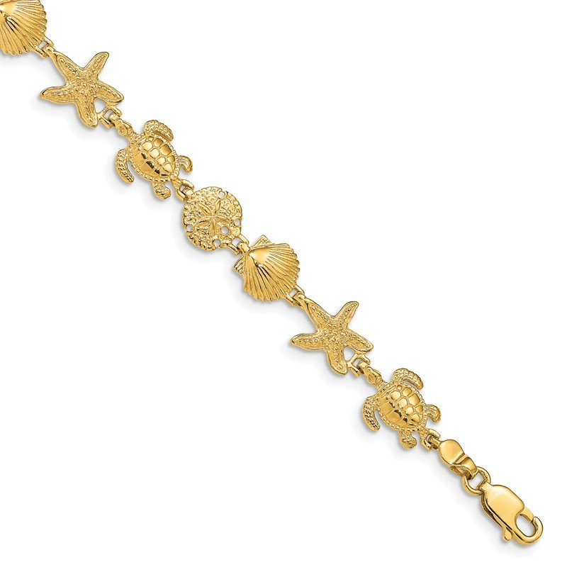 Quality Gold 14k Turtle Sand Dollar Shell and Starfish 7.25in Link Bracelet
