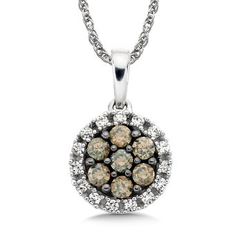 Pave set Cognac Cluster and White Diamond Halo Pendant, 14k White Gold  (1/3 ct. tw.)