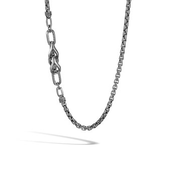Asli Classic Chain Link 5MM Box Necklace, Blackened Silver