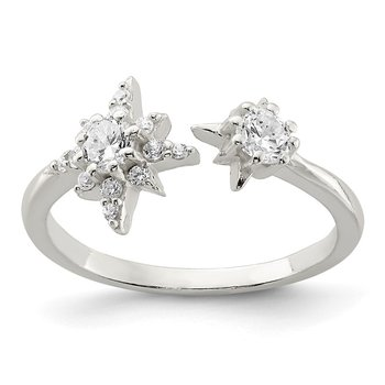 Sterling Silver Polished CZ Stars Ring