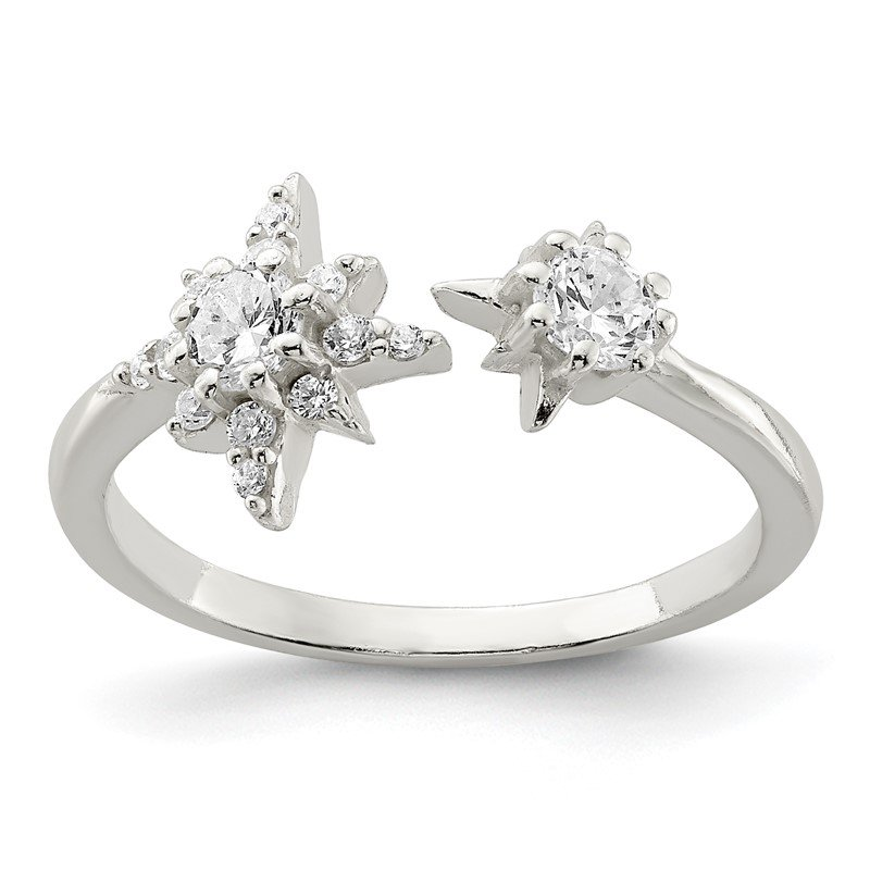 J.F. Kruse Signature Collection Sterling Silver Polished CZ Stars Ring