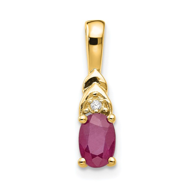 Quality Gold 14k Ruby and Diamond Pendant
