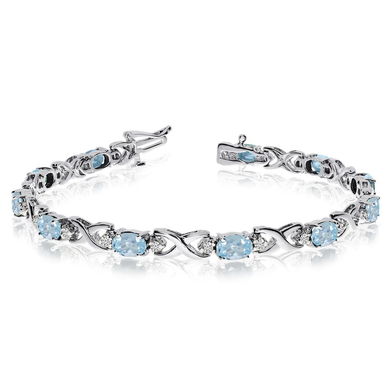 Color Merchants 14k White Gold Natural Aquamarine And Diamond Tennis Bracelet
