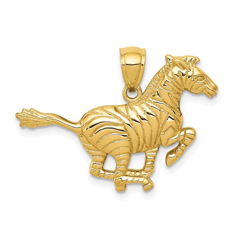 Quality Gold 14k Polished Running Zebra Pendant