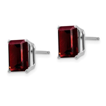 14k White Gold 9x7mm Emerald Cut Garnet Earrings