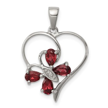 Sterling Silver Rhodium Garnet & Diamond Butterfly Heart Pendant