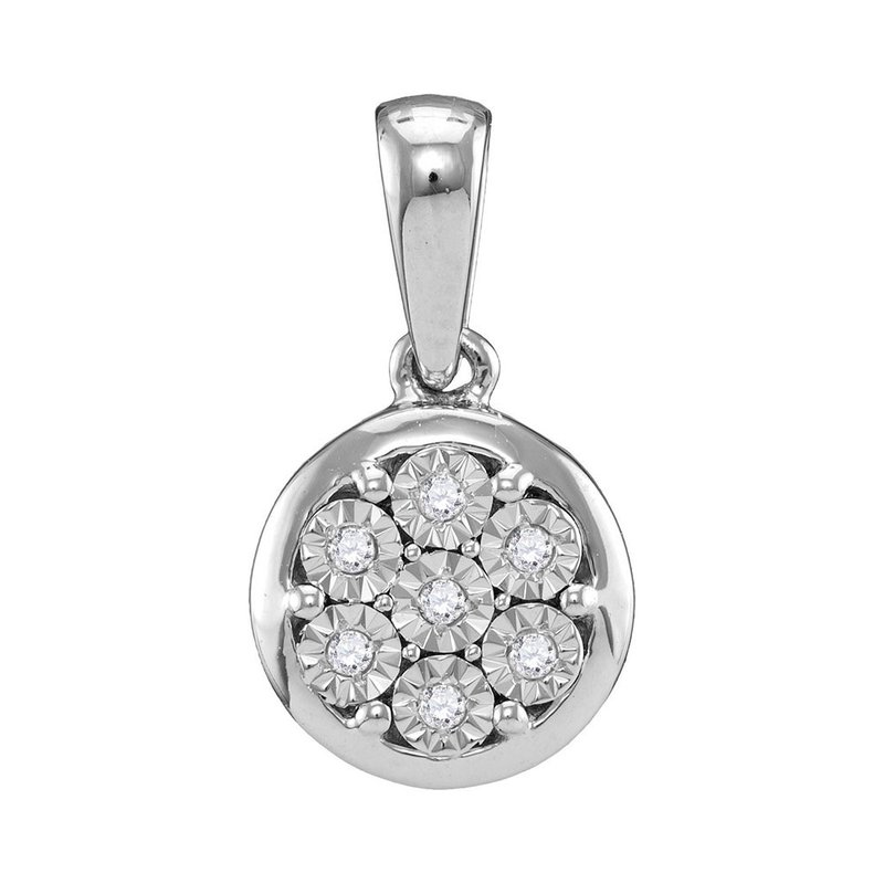 Gold-N-Diamonds 10kt White Gold Womens Round Diamond Illusion-set Flower Cluster Pendant 1/20 Cttw