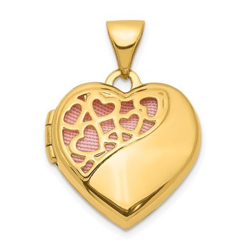 14K Hearts Cut Out 16mm w/Pink Fabric Heart Locket Pendant
