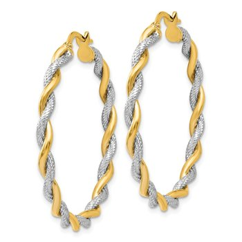 Leslie's 14K Rhodium-plated Textured Twisted Hoop Earrings